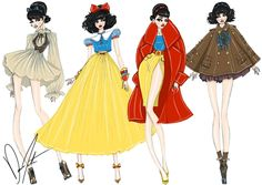 2 sets of disney princesses with updated clothing based on movie clothing