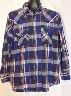 Ely Plains Mens VTG Pearl button Multi-color Plaid Cotton Western shirt size L #ElyPlains #Western