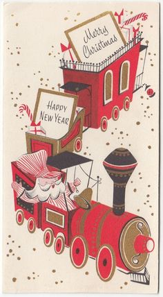 Vintage Greeting Card Christmas Santa Claus Train Paramount r167 in Collectibles | eBay