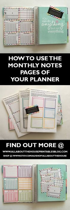 How to use the monthly notes pages in your planner.