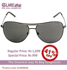 Farenheit Superb 952 Black Green C2 Aviator Sunglasses http://www.glareaffair.com/sunglasses/farenheit-superb-952-black-green-c2-aviator-sunglasses.html Brand : Farenheit  Regular Price: Rs1,699 Special Price: Rs999  Discount : Rs700 (41%)