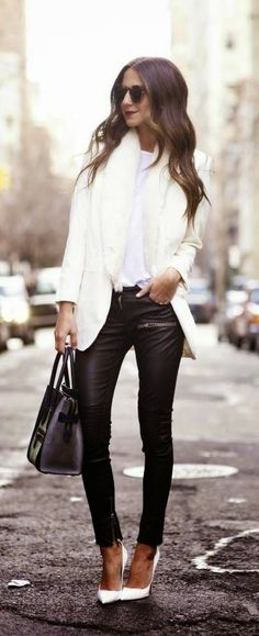 #street #style / white + leather