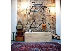 Gallery: 50 of the Most Bike Friendly Homes - Total Women's Cycling Women's Cycling, Bike Storage, Brick Wall, Bicycles, Crib, Ikea, Wellness, Homes, Cool Stuff
