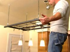 hanging shelf and pot rack   Build a Hanging Pot Rack : Rooms : Home & Garden Television