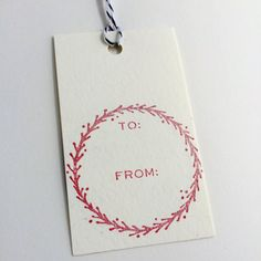 Gift Tag Stamp  To/From with Hand Drawn Wreath by tinoiseau on Etsy, $20.00   Use the code PIN10 to get 10% off!