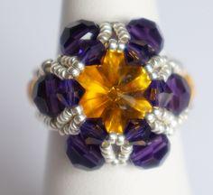 Bague jaune et violette en cristal de Swarovski : Bague par lesbijouxdunibou