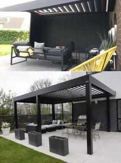 Modern Patio Design, Modern Gazebo, Terrace Design, Deck Design, Outdoor Pergola, Outdoor Spaces, Louvered Pergola, Model House Plan, Backyard Patio Designs