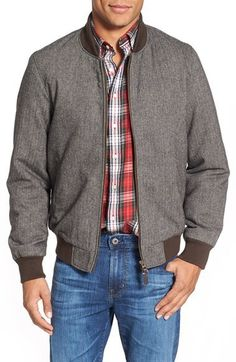 $350, Gant Herringbone Bomber Jacket. Sold by Nordstrom. Click for more info: https://lookastic.com/men/shop_items/386820/redirect