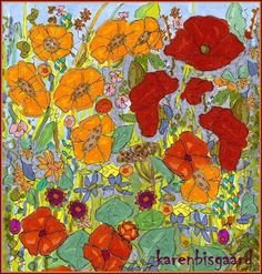Karen`s Postcard Paintings: Blooming Meadow.