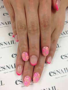 pink flower nails