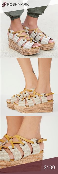 NWT NIB Free People Hayfield Wedge in Natural Amazing platform sandals by Free People. No flaws and in excellent condition. Never worn. Still New In Box. Perfect, paired with comfy pants or cute dresses! Will be shipped in box as well. Free People Shoes