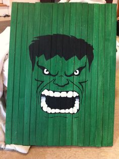 Hulk painted on slats found at www.facebook.com/withlovesadie