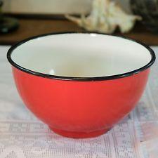 Vintage Retro Red & Black ENAMELWARE Soup Cereal BOWL Camping POLAND 1960s Polis
