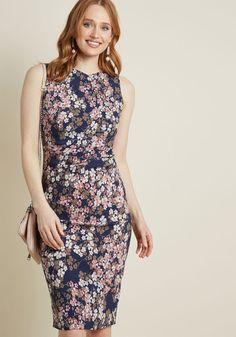 Epic Evening Floral Sheath Dress - Though the night ahead is full of mystery, one thing is certain - you'll be looking stunning in this navy sheath dress the entire time! With its flattering side ruching, muted floral print in taupe, ivory, and blush hues, and the perfect amount of stretch, this midi-length marvel is prepped for even the most impromptu outings.