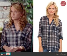 Kathryn's plaid blouse on Switched at Birth.  Outfit Details: http://wornontv.net/43213/ #SwitchedatBirth