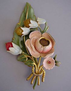 ENAMELED pink, green and blue floral bouquet brooch with glass buds