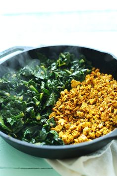 Savory Tofu Scramble with Kale, Sweet Potatoes and Roasted Red Onion! Flavorful, plant-based, and SO satisfying! #vegan #glutenfree #breakfast #recipe