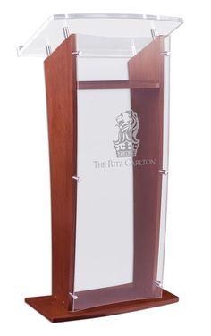 "24"" Wood Podium with Acrylic Panel & Surface, Custom Artwork, 48.75"" tall - Mahogany"