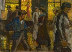 Marie Henri Mackenzie (Rotterdam 1878-1961 Hilversum) Amsterdamse winkelstraat, bij avond - Kunsthandel Simonis en Buunk, Ede (Nederland).