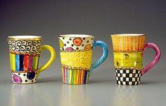 mug art Mixed pattern mugs Painted Mugs, Hand Painted Ceramics, Pottery Painting, Ceramic Painting, Pottery Designs, Mug Designs, Pottery Mugs, Ceramic Pottery, Ceramic Cups