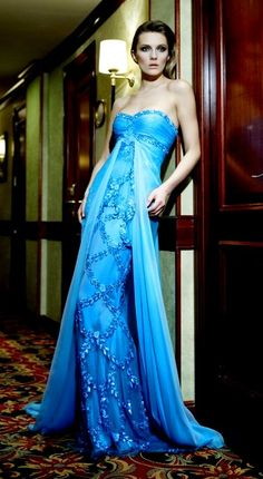 Zuhair Murad Summer 2007 | Editorial | sweetheart neckline | blue | aqua | chiffon dress | evening gown | high fashion