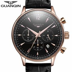 #GUANQIN #GQ001 Men #Quartz Fashion #Watch with Leather Strap. Buy GUANQIN GQ001 Watch now at the best price online. Discover the last watches deals.