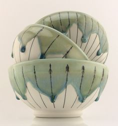 trio of drippy porcelain bowls with slip inlay