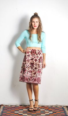 1970s Anne Klein Tapestry Skirt // by UXCVintage on Etsy