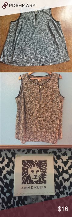 Anne Klein 18W top This 18W Anne Klein sleeveless top is chic with a black and white pattern, functioning gold zipper at neck, wide straps and a flowing fit. Perfect for layering at work or with capris and sandals! Laid flat it measures 25 inches at bust and waist, 28 inches shoulder to hem. No real stretch to the material. Gently used - in EUC and from a smoke free home. Anne Klein Tops Blouses