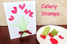 Celery stamps for Valentine Hearts.  Use the heart stamp to create a Valentine Card. More Valentine Craft ideas at ActivitiesForKids.com