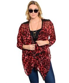 f685a204dc This sheer woven cover features a pointed hem and a leopard print. Wear it  with. Plus Size CardigansFront ...