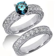 2.00 Karat Diamantring Set *Exclusivset No.5* mit einem blauen Diamanten als Mittelstein
