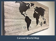 Wooden Map, Home Wall Decor Idea, Wood world map, wood wall art, Rustic, Looks like Reclaimed Barn wood by HowdyOwl on Etsy