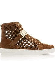 MICHAEL Michael Kors Keaton studded cutout suede high-top sneakers