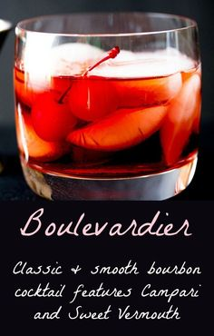 Classic bourbon cocktail features Campari and Sweet Vermouth