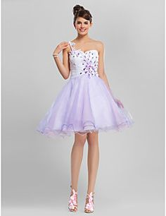 TS Couture® Cocktail Party / Sweet 16 Dress - Multi-color Plus Sizes / Petite A-line / Ball Gown One Shoulder / Sweetheart Knee-length