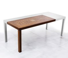 """Precious"" table by Giuseppe Pruneri for Haute Material; inlay of italian walnut-tree and ivory, stainless steel structure"