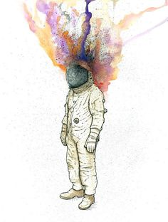 Psychedelic space man illustration originally rendered in watercolors and ink. 8x10 print.