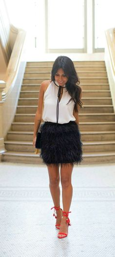 holiday outfit inspiration: how to style feather skirt