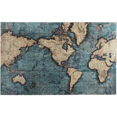 Pier 1 Imports World Map Art - Teal ($249) found on Polyvore