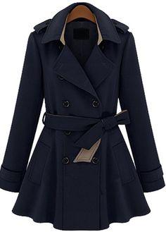 Trendy Turndown Collar Long Sleeve Navy Blue Coat 74989290c52