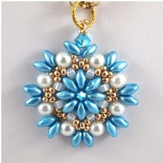 AquaGold and White Hand Beadwoven pendant by ChainedByLightness, $20.00