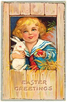 c1910 Easter greeting antique postcard features heavily embossed, brightly-colored lithograph of little Victorian boy in sailor suit