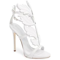Women's Giuseppe Zanotti 'Cruel' Wing Sandal (€1.345) ❤ liked on Polyvore featuring shoes, sandals, white, white stiletto shoes, wing sandals, giuseppe zanotti shoes, white stiletto sandals and giuseppe zanotti sandals