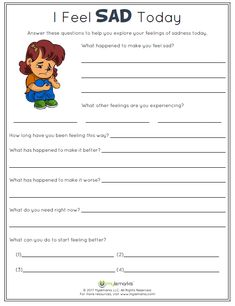 I Feel SAD Today! Help kids explore their feelings of sadness with this helpful worksheet from Mylemarks. #feelings #empathy #sadness #copingskills #mylemarks