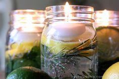 Olores Summertime velas flotantes en un frasco (con gotas de citronela)