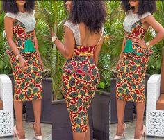 Robe crayon africaine dessous mi-longues par CoCoCremeCouturier