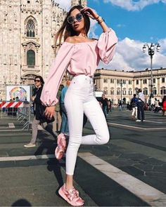 How to wear Millennial Pink sneakers.