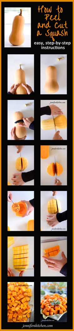 Easy, step-by-step instructions - How to peel and cut a squash.  And a recipe for roasted squash!