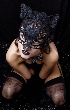 CAT WOMAN  Black Lace and Leather Cat Mask by MysticMagicMasks